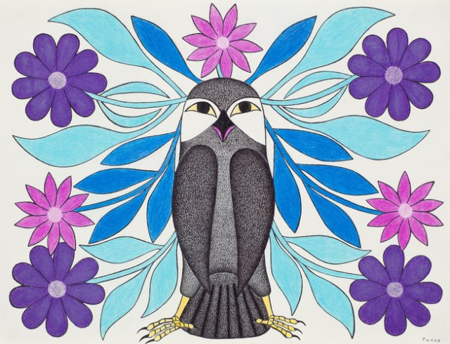 Blue Flower Plumed Owl 2008 20 x 26