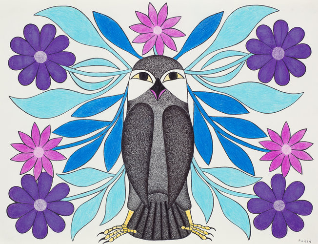 Blue Flower Plumed Owl 2008 20 x 26