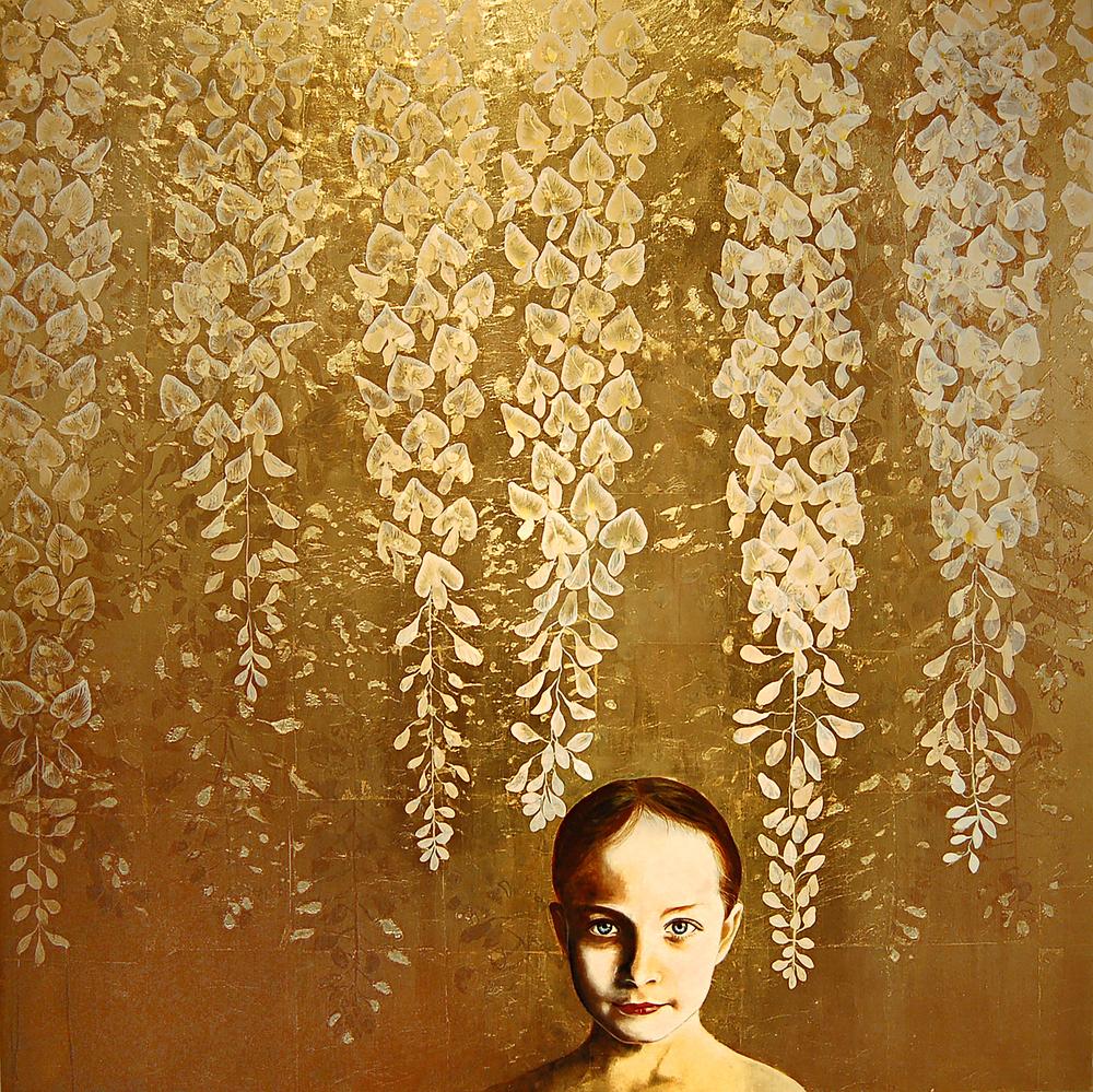 Kae Sasaki, Untitled, Oil and Patina on Gold-Leafed Panel, 2014, 40- x 40-