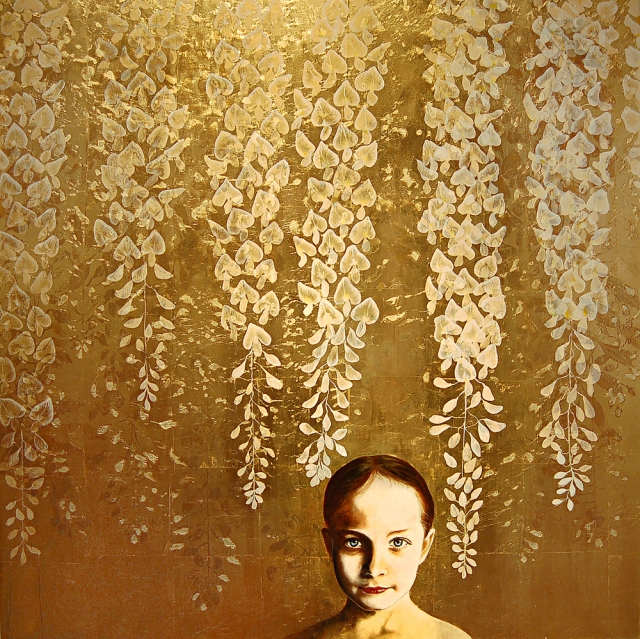 Kae Sasaki, Untitled, Oil and Patina on Gold-Leafed Panel, 2014, 40- x 40-