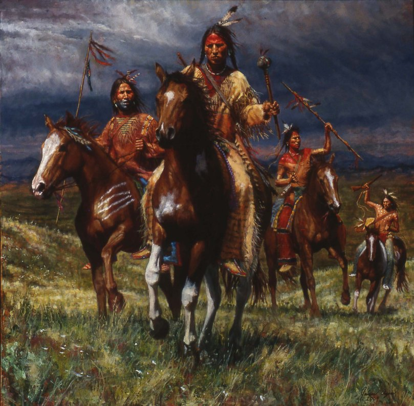 333N-WAR-PARTY-RIDES-LAKOTA-OIL-ON-CANVAS-2004-40X40-15000.00-2-12-04-LGAZ