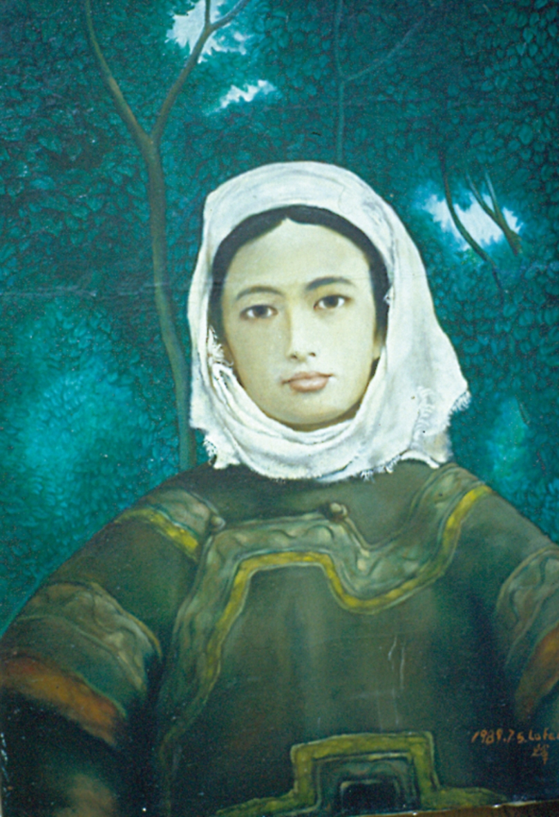 Girl in Forest 1999 Luo Fahui oil on canvas